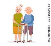 couple of cute elderly standing ... | Shutterstock .eps vector #1131069158