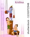 kanha stealing makhan  cream ... | Shutterstock .eps vector #1131072548