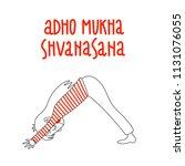 yoga pose  adho mukha...   Shutterstock .eps vector #1131076055