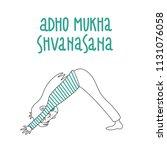 yoga pose  adho mukha...   Shutterstock .eps vector #1131076058