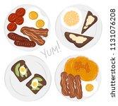 american breakfast set | Shutterstock .eps vector #1131076208