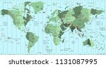 world map with time zone and... | Shutterstock .eps vector #1131087995