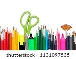 stationery office school... | Shutterstock . vector #1131097535