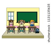 color girls students in the... | Shutterstock .eps vector #1131135635