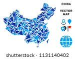 china map mosaic of blue... | Shutterstock .eps vector #1131140402