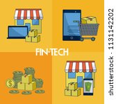 financial technology square... | Shutterstock .eps vector #1131142202