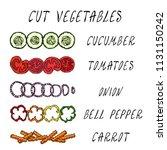 cut vegetable set. cucumber ... | Shutterstock .eps vector #1131150242