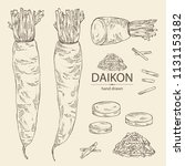 collection of daikon  root and... | Shutterstock .eps vector #1131153182