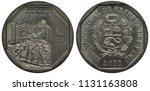 peru peruvian coin 1 one sol... | Shutterstock . vector #1131163808