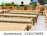 bamboo platform benches in... | Shutterstock . vector #1131174095
