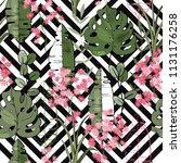 tropical vector seamless flower ...   Shutterstock .eps vector #1131176258