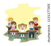 students sitting school desk in ... | Shutterstock .eps vector #1131177305