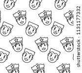 line happy policeman and man... | Shutterstock .eps vector #1131177332