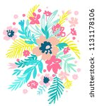 bouquet of abstract flowers and ... | Shutterstock .eps vector #1131178106