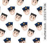 happy policeman and man heads... | Shutterstock .eps vector #1131178736