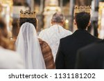 gorgeous bride and stylish... | Shutterstock . vector #1131181202