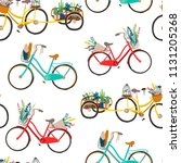 hand drawn retro bicycles....   Shutterstock .eps vector #1131205268
