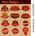 retro badges   combined | Shutterstock .eps vector #113121802