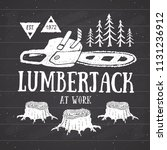 lumberjack at work with... | Shutterstock . vector #1131236912