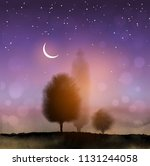magic landscape with trees and... | Shutterstock .eps vector #1131244058