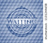 waiting blue badge with... | Shutterstock .eps vector #1131244658