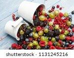 various fresh summer berries.... | Shutterstock . vector #1131245216