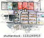 interior cafe sketch  hand... | Shutterstock . vector #1131245915