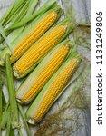 fresh corn on cobs on rustic... | Shutterstock . vector #1131249806