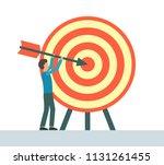 achievement goal concept. the... | Shutterstock .eps vector #1131261455