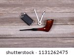 smoking tobacco pipe and pipe...   Shutterstock . vector #1131262475