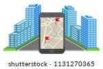 navigation. 3d city. gps... | Shutterstock .eps vector #1131270365