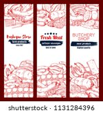 meat and sausage sketch banners.... | Shutterstock .eps vector #1131284396
