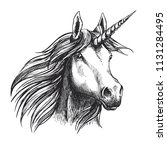 unicorn head sketch icon of... | Shutterstock .eps vector #1131284495