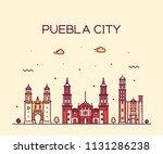 puebla city skyline  puebla ... | Shutterstock .eps vector #1131286238