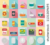 Tin Can Food Package Jar Icons...