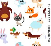 cute cartoon animals pattern... | Shutterstock .eps vector #1131321548