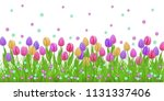 spring floral border with...   Shutterstock .eps vector #1131337406