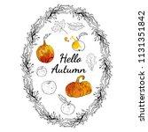 hello autumn set  oval wreath... | Shutterstock .eps vector #1131351842