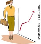 a business woman looking at a... | Shutterstock . vector #113136382