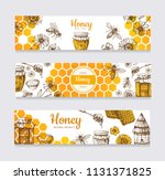 honey banners. vintage hand... | Shutterstock .eps vector #1131371825
