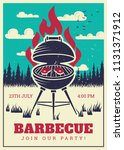 vintage bbq grill party poster. ... | Shutterstock .eps vector #1131371912