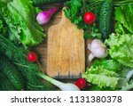 background with herbs  lettuce  ... | Shutterstock . vector #1131380378