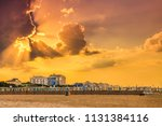 sunset on colorful closed... | Shutterstock . vector #1131384116
