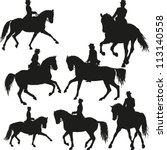 Stock vector dressage vector set 113140558