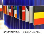 an offset row of colorful... | Shutterstock . vector #1131408788