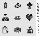 set of 9 simple editable icons... | Shutterstock .eps vector #1131423236