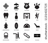 set of 16 icons such as dollar...