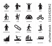 set of 16 icons such as road...