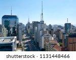 paulista avenue in sao paulo.... | Shutterstock . vector #1131448466