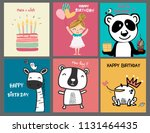 collection doodle cute cartoon... | Shutterstock .eps vector #1131464435